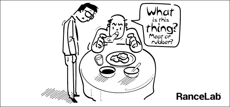 12. Underprepared overdone food