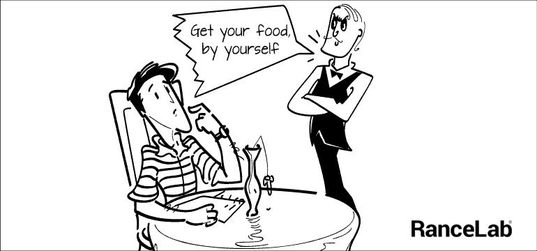 13. Misbehaving waiter